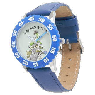 FRANKY BUTTER ALIEN CARTOON BBezel with Blue Numbe Watch