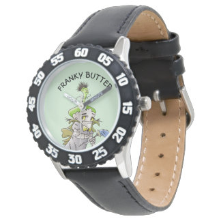 FRANKY BUTTER ALIEN CARTOON Bezel with Black Numbe Watch