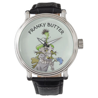 FRANKY BUTTER ALIEN CARTOON Black Vintage Leather Watch