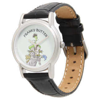 FRANKY BUTTER ALIEN CARTOON Classic Black Leather Watch