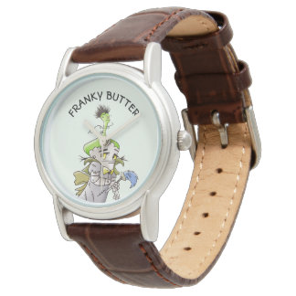 FRANKY BUTTER ALIEN CARTOON Classic Brown Leather Watch