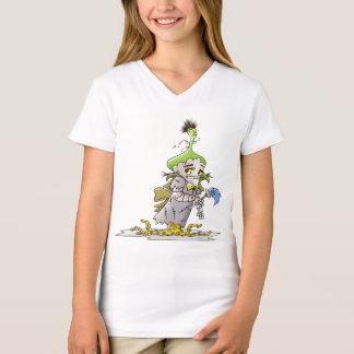 FRANKY BUTTER ALIEN CARTOON Fine Jersey V-Neck T-S T-Shirt