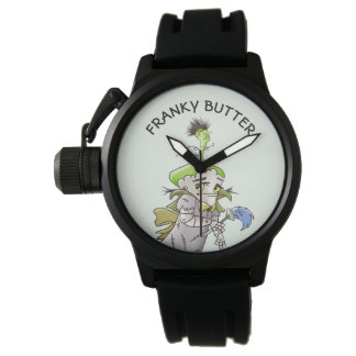 FRANKY BUTTER ALIEN CARTOON Men's Crown Protector Watch
