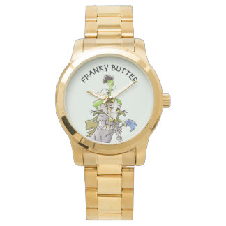 FRANKY BUTTER ALIEN CARTOON Oversized Gold Bracele Watch