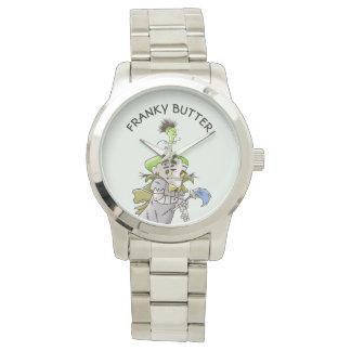 FRANKY BUTTER ALIEN CARTOON Oversized Silver Brace Watch