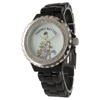 FRANKY BUTTER ALIEN CARTOON Rhinestone Black Ename Watch