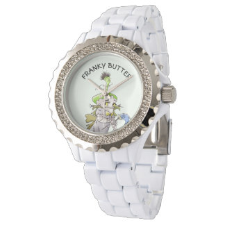 FRANKY BUTTER ALIEN CARTOON Rhinestone White Ename Watch