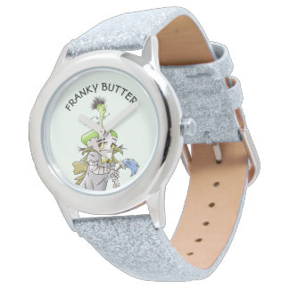 FRANKY BUTTER ALIEN CARTOON Silver Glitter Watch