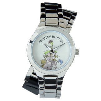 FRANKY BUTTER ALIEN CARTOON Silver Wrap-Around Watch