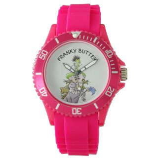 FRANKY BUTTER ALIEN CARTOON Sporty Pink Silicon Watch