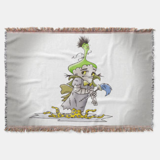 FRANKY BUTTER ALIEN CARTOON Throw Blanket