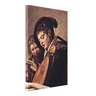 Frans Hals - Baroque of musicians Stretched Canvas Print