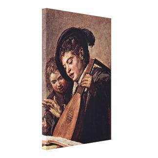 Frans Hals - Baroque of musicians Stretched Canvas Print