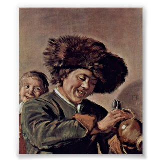Frans Hals - Two laughing boys with a beer mug Poster
