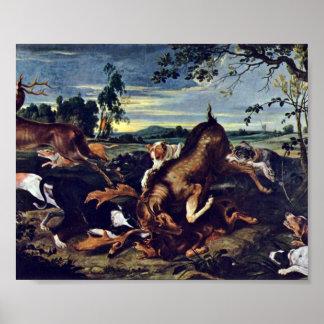 Frans Snyders - deer hunting Poster