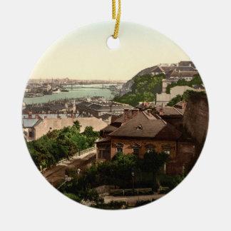 Franz Josephs Bridge, Budapest, Hungary Round Ceramic Ornament