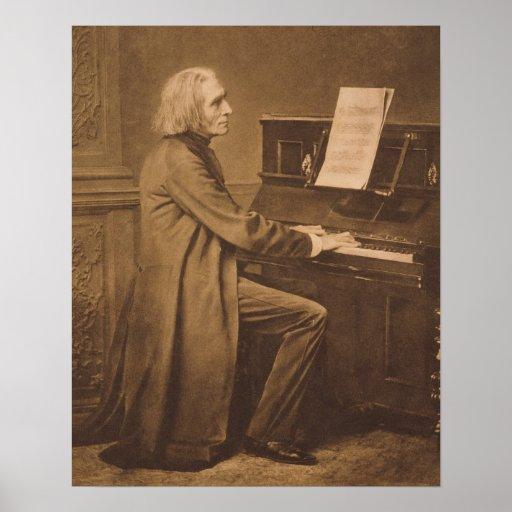 Franz Liszt  at the Piano Print