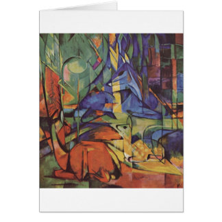 Franz Marc - Deer in Woods II 1913-14 Moon Fawn Greeting Card