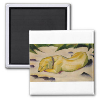Franz Marc - Dog Lying in Snow 1910-11 Puppy White Square Magnet
