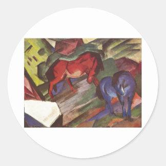 Franz Marc - Red & Blue Horse 1912 Paper Horses Round Sticker