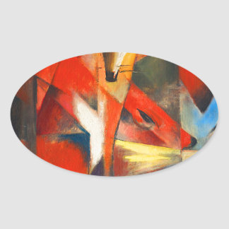 Franz Marc The Foxes Oval Sticker