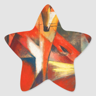 Franz Marc The Foxes Star Sticker