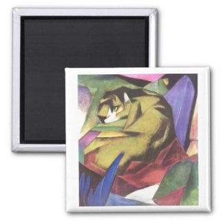Franz Marc - Tiger 1912 Cat Jungle Canvas Yellow Square Magnet