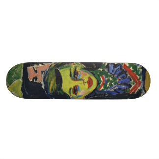 Fränzi in front of Carved Chair by Ernst Kirchner Skateboard Deck
