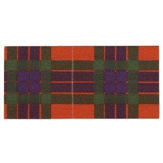 Fraser clan Plaid Scottish tartan Wood USB Flash Drive