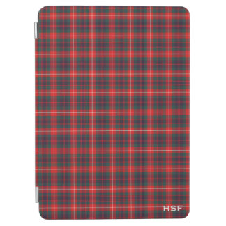 Fraser Clan Red and Navy Blue Tartan Monogram iPad Air Cover