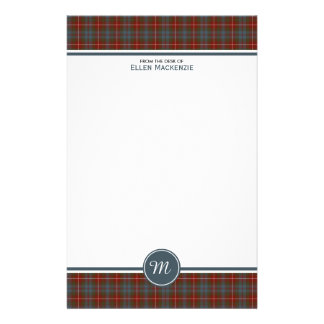 Fraser Lovat Weathered Tartan Monogram Stationery