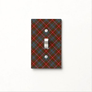 Fraser of Lovat Dark Red and Blue Weathered Tartan Light Switch Cover