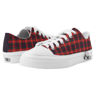 Fraser of Lovat Modern Tartan Red and Blue Canvas Low-Top Sneakers