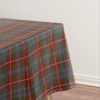 Fraser of Lovat Muted Red and Blue Tartan Tablecloth