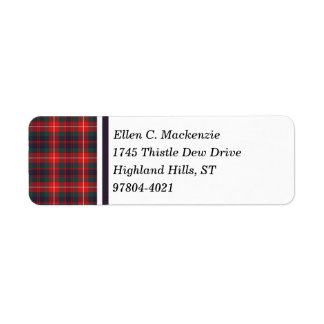 Fraser of Lovat Red and Navy Blue Modern Tartan Return Address Label