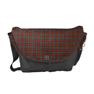Fraser of Lovat Weathered Tartan Dark Red Plaid Messenger Bag