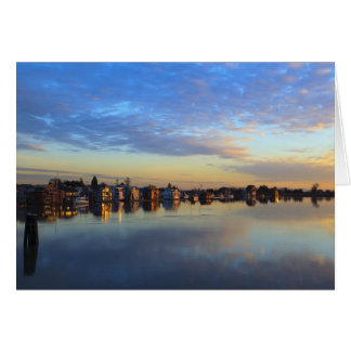 Fraser River, house boats at sunset Card