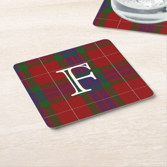 Fraser Tartan Plaid Monogram Paper Coasters