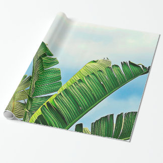 Frayed Palm Fronds Against Blue Sky Wrapping Paper