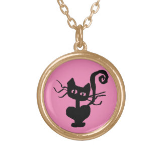 Frazzle Kitty Cartoon Cat Gold Plated Necklace