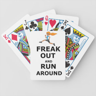 Freak Out And Run Around, funny scared girl design Bicycle Playing Cards