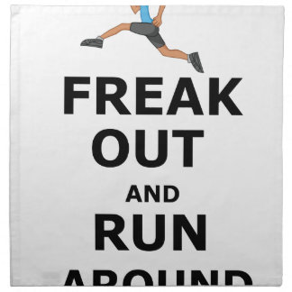 Freak Out And Run Around, funny scared girl design Cloth Napkin