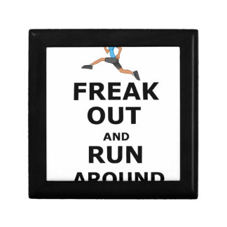 Freak Out And Run Around, funny scared girl design Gift Box
