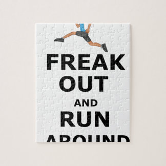 Freak Out And Run Around, funny scared girl design Jigsaw Puzzle