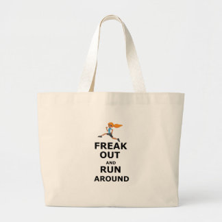 Freak Out And Run Around, funny scared girl design Large Tote Bag