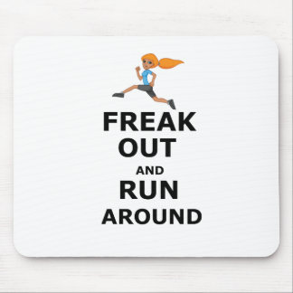 Freak Out And Run Around, funny scared girl design Mouse Pad