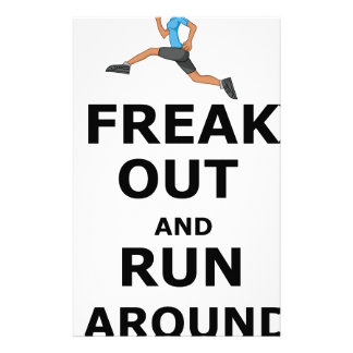 Freak Out And Run Around, funny scared girl design Stationery