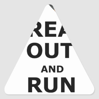 Freak Out And Run Around, funny scared girl design Triangle Sticker