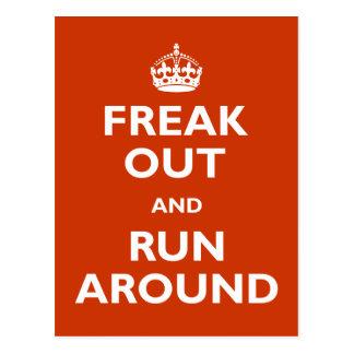 Freak Out & Run Around Postcard