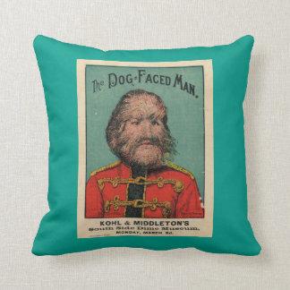 Freak Show Dog Face Man Throw Pillow